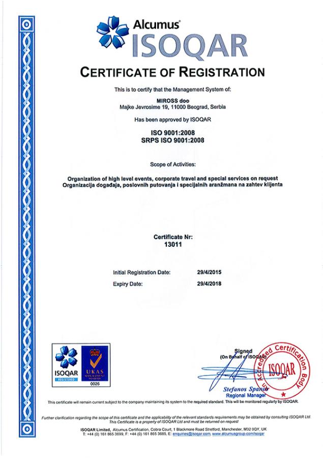 Potvrđen kvalitet: Miross dobio standard 9001